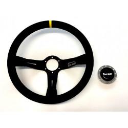 Športový volant Toorace Grid, 350mm, brúsená koža, 90mm odsadenie