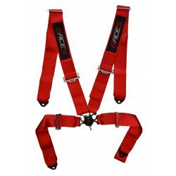 """4 bodové bezpečnostné pásy RACES 3"""" (76mm), červené"""
