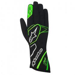 Rukavice Alpinestars Tech 1 K bez FIA homologizácie - čierno-bielo-zelené