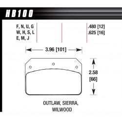Brzdové dosky Hawk HB100G.480, Race, min-max 90°C-465°C