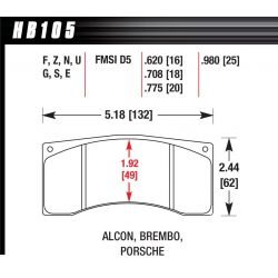 Brzdové dosky Hawk HB105W.620, Race, min-max 37°C-650°C