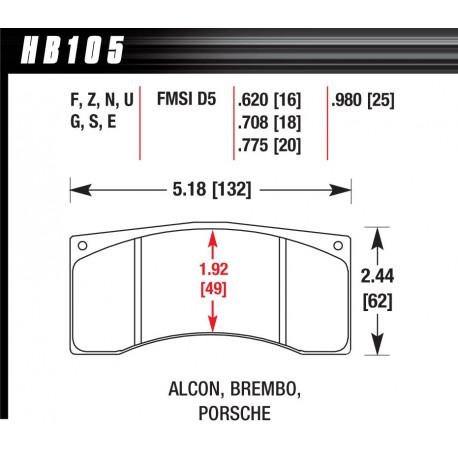 Brzdové dosky HAWK performance Brzdové dosky Hawk HB105W.620, Race, min-max 37°C-650°C | race-shop.sk