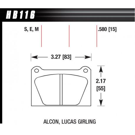 Brzdové dosky HAWK performance Brzdové dosky Hawk HB116S.580, Street performance, min-max 65°C-370° | race-shop.sk