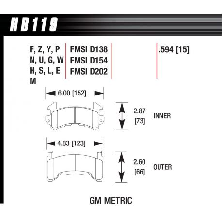 Brzdové dosky HAWK performance Predné brzdové dosky Hawk HB119E.594, Race, min-max 37°C-300°C | race-shop.sk