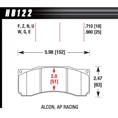 Brzdové dosky HAWK performance Predné brzdové dosky Hawk HB122U.710, Race, min-max 90°C-465°C | race-shop.sk