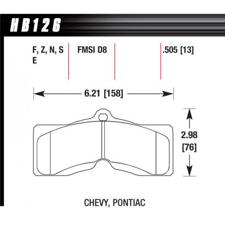 Brzdové dosky HAWK performance Predné brzdové dosky Hawk HB126Z.505, Street performance, min-max 37°C-350°C   race-shop.sk