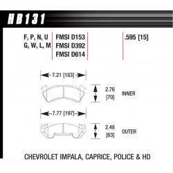 Predné brzdové dosky Hawk HB131F.595, Street performance, min-max 37°C-370°C
