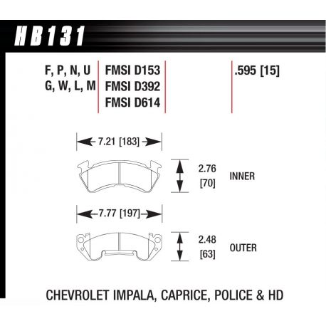 Brzdové dosky HAWK performance Predné brzdové dosky Hawk HB131F.595, Street performance, min-max 37°C-370°C | race-shop.sk