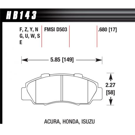 Brzdové dosky HAWK performance Predné brzdové dosky Hawk HB143U.680, Race, min-max 90°C-465°C   race-shop.sk