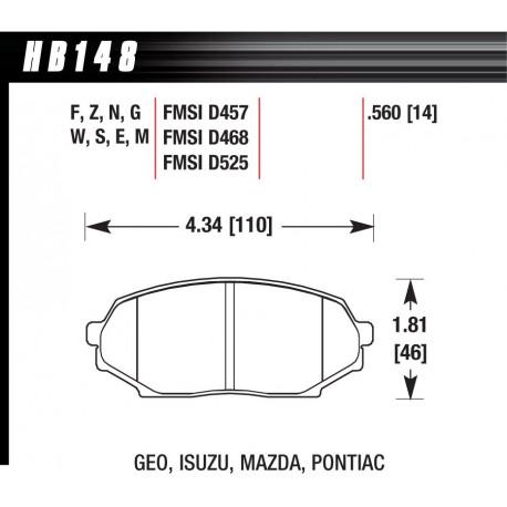 Brzdové dosky HAWK performance Predné brzdové dosky Hawk HB148G.560, Race, min-max 90°C-465°C | race-shop.sk