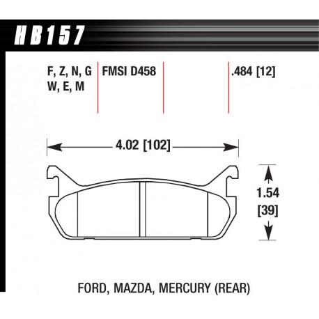 Brzdové dosky HAWK performance Zadné brzdové dosky Hawk HB157N.484, Street performance, min-max 37°C-427°C | race-shop.sk