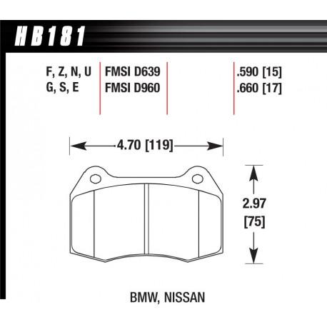 Brzdové dosky HAWK performance Predné brzdové dosky Hawk HB181G.660, Race, min-max 90°C-465°C | race-shop.sk