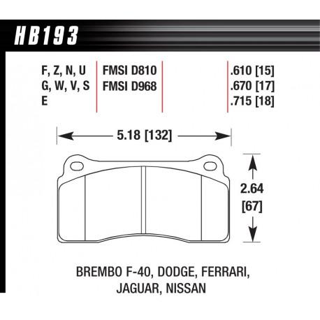 Brzdové dosky HAWK performance Zadné brzdové dosky Hawk HB193Z.670, Street performance, min-max 37°C-350°C | race-shop.sk