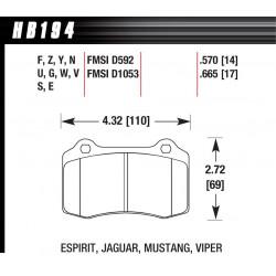 Zadné brzdové dosky Hawk HB194Y.570, Street performance, min-max 37°C-370°C