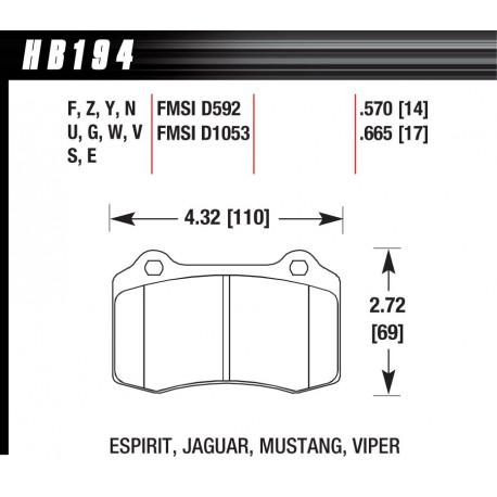 Brzdové dosky HAWK performance Zadné brzdové dosky Hawk HB194Y.570, Street performance, min-max 37°C-370°C | race-shop.sk