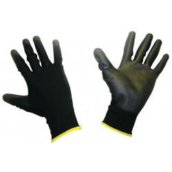 Polomáčané polyesterové pracovné rukavice - čierne