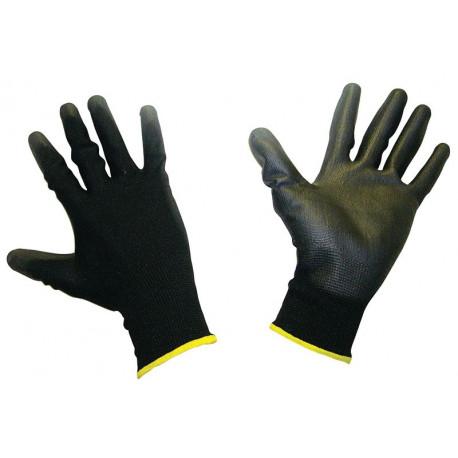 Ochranné rukavice - mechanik Polomáčané polyesterové pracovné rukavice - čierne | race-shop.sk