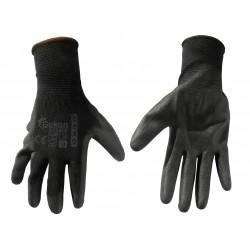 Bavlnené polomáčané polyesterové pracovné rukavice - čierne