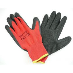 Bavlnené polomáčané polyesterové pracovné rukavice - čierno čierne
