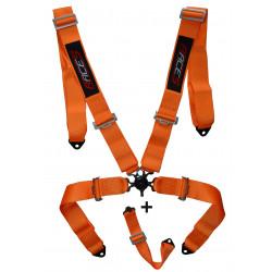 """5 bodové bezpečnostné pásy RACES 3"""" (76mm), oranžové"""