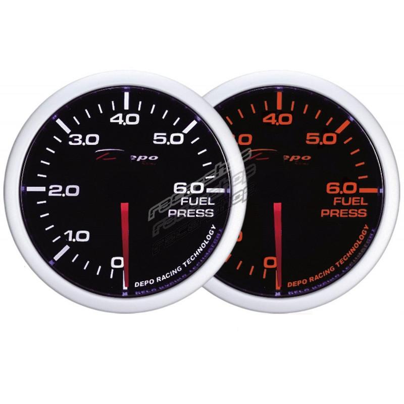 Depo Racing Gauge : Depo racing gauge fuel pressure white and amber series