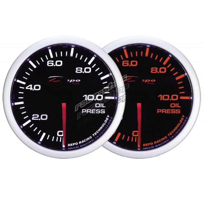 Depo Racing Gauge : Depo racing gauge oil pressure white and amber series