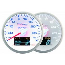 Budík DEPO 4v1 60mm White – Tlak turba + Tlak oleja + Teplota oleja + Voltmeter