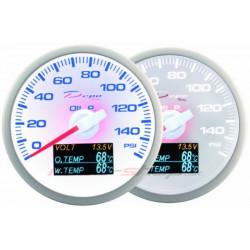 Budík DEPO 4v1 60mm White – Tlak oleja + Teplota oleja + Teplota vody + Voltmeter