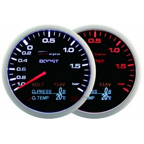 Budíky DEPO 4v1 60mm Budík DEPO 4v1 60mm Black – Teplota výfukových plynov + Tlak oleja + Teplota oleja + Voltmeter | race-shop.sk
