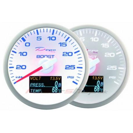 Budíky DEPO 4v1 60mm Budík DEPO 4v1 60mm White – Teplota výfukových plynov + Tlak oleja + Teplota oleja + Voltmeter | race-shop.sk